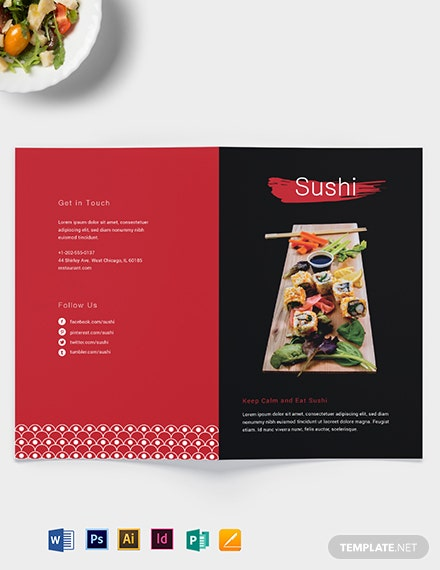 Sushi Restaurant Take-out Bifold Brochure Template