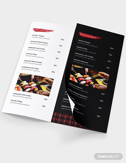 Sample Sushi Restaurant Takeout Trifold Brochure