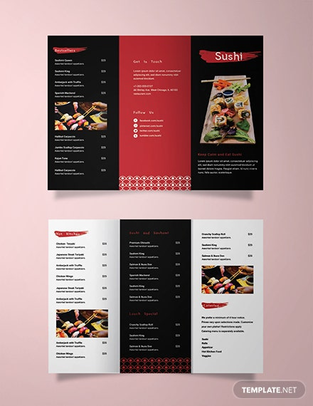 Sushi Restaurant Take-out Trifold Brochure Template