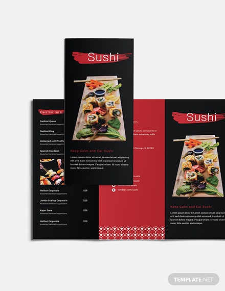 Sushi Restaurant Takeout Trifold Brochure Download