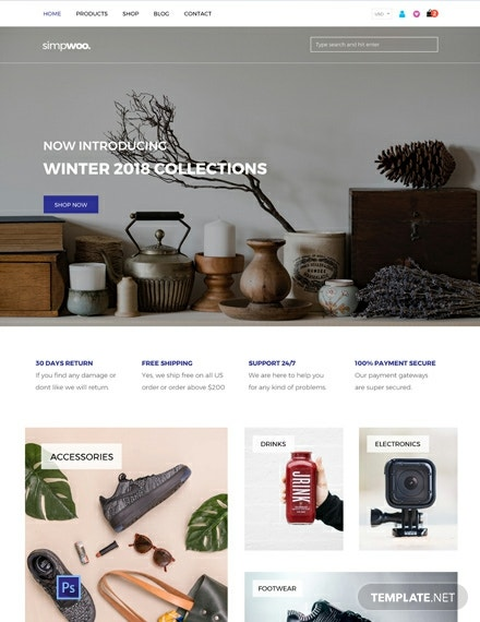 Free WooCommerce website template