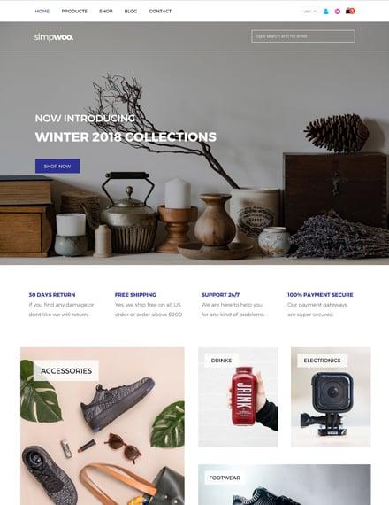 Free WooCommerce website template