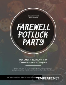 Farewell Potluck Flyer Template