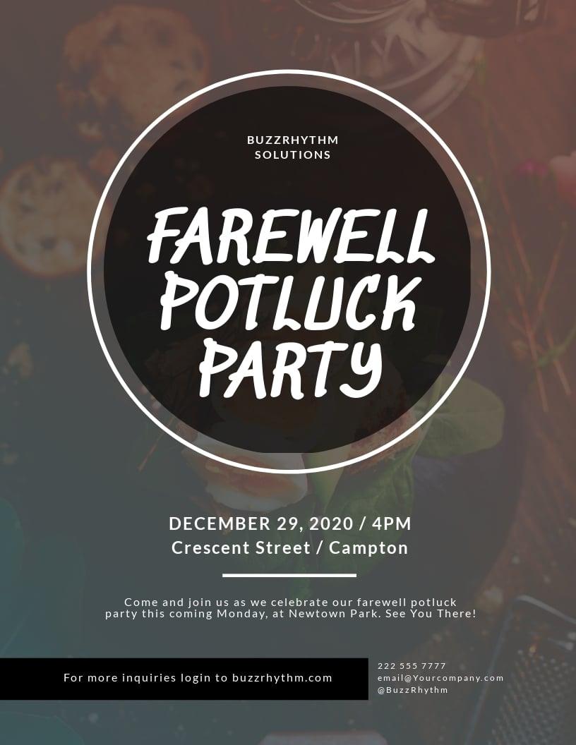 Farewell Potluck Flyer Template