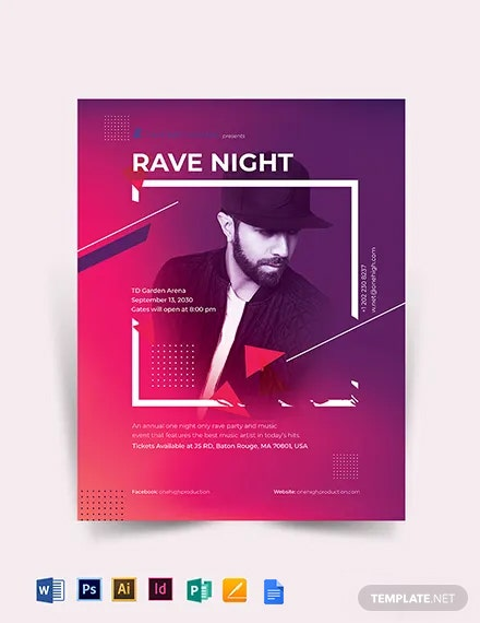 Rave Night Event Flyer Template
