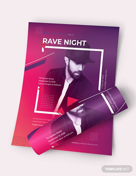 Rave Night Event Flyer Download