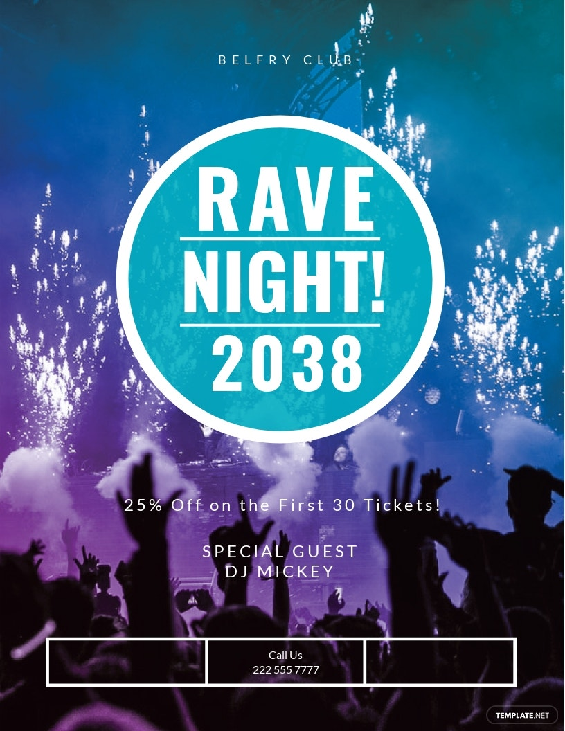 Rave Night Flyer Template [Free JPG] - Illustrator, InDesign, Word, Apple Pages, PSD, Publisher
