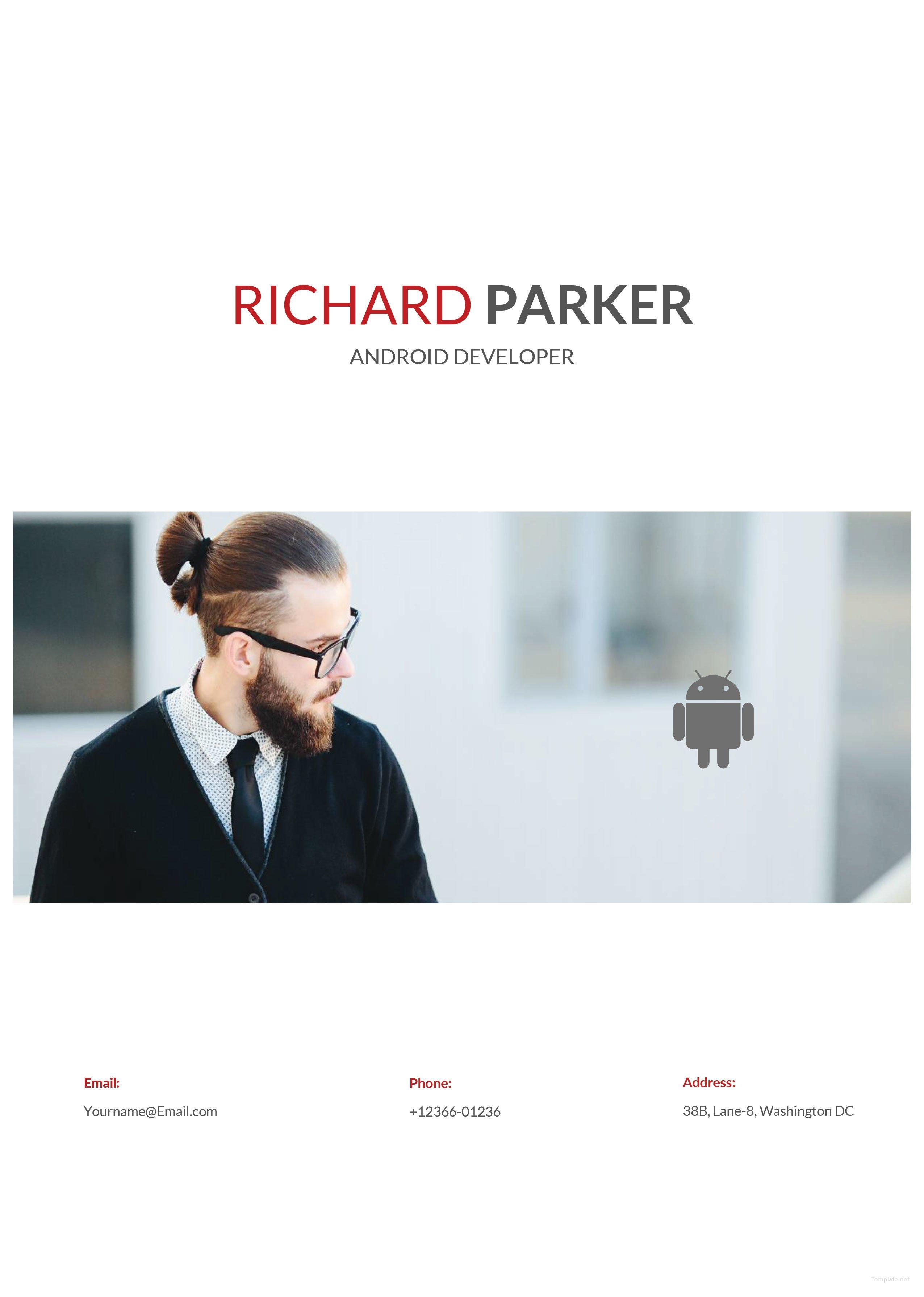 free junior android developer resume template in adobe
