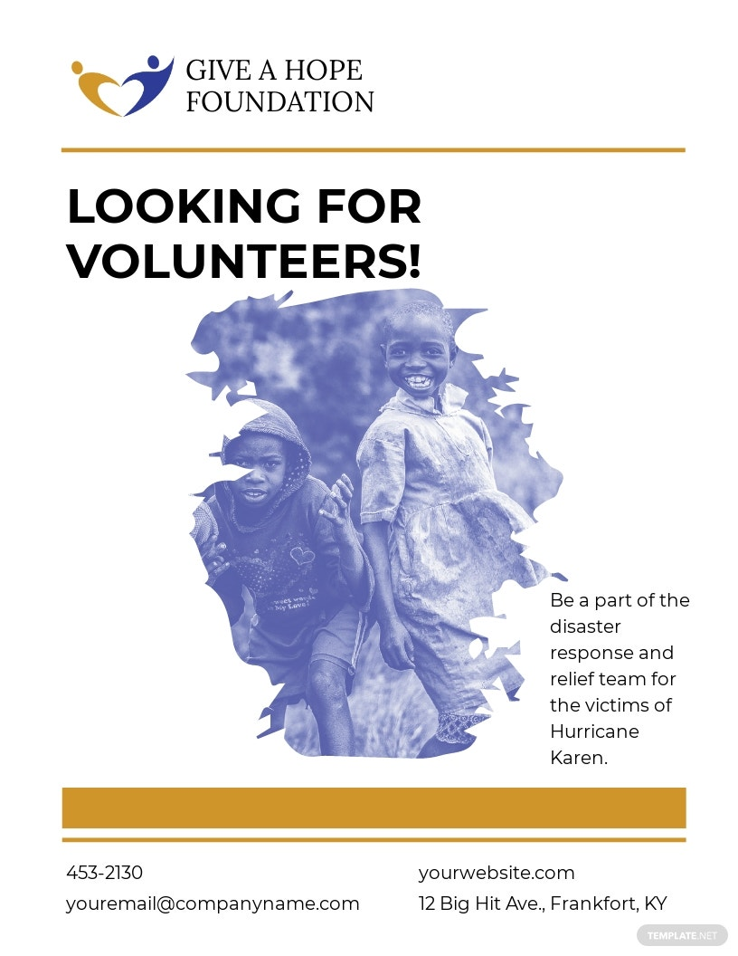 Simple Volunteer Charity Flyer Template