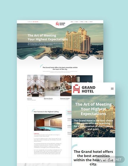 Hotel Landing Page WordPress Theme