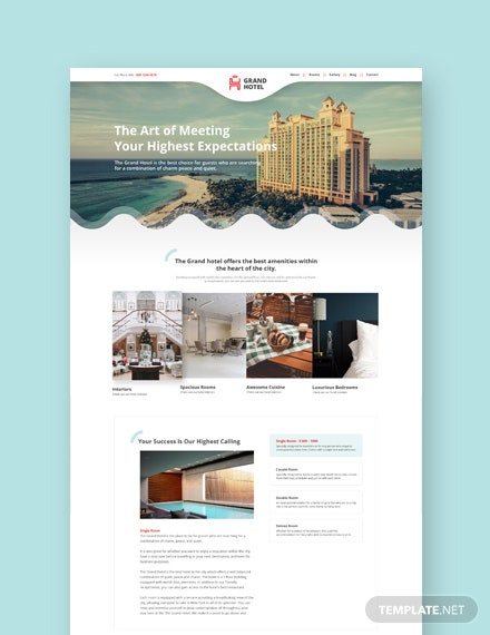 Sample Hotel Landing Page Wordpress Theme