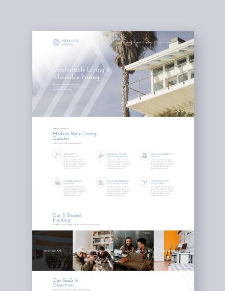 Sample Hostel  Landing Page Wordpress Theme