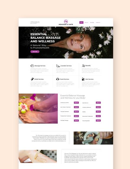 Sample Massage Landing Page Wordpress Theme