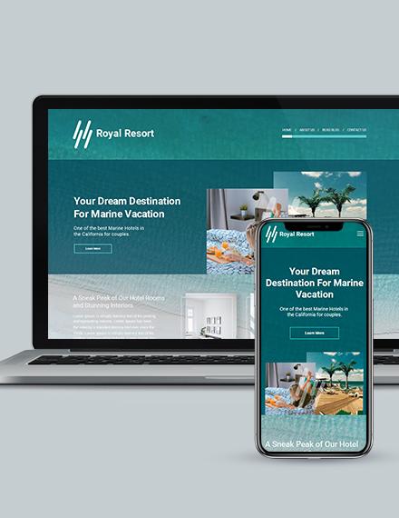 Royal Resort Landing Page Wordpress Theme Download