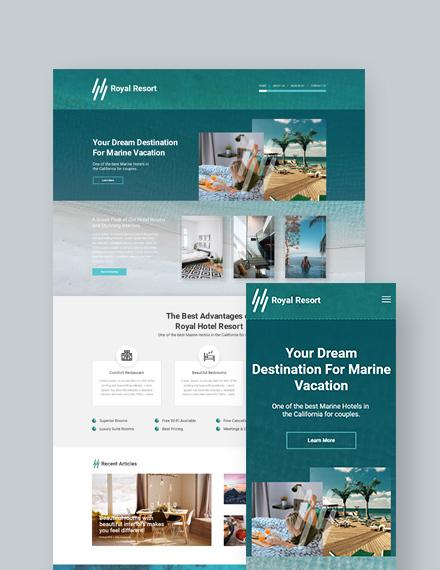 Royal Resort Landing Page WordPress Theme