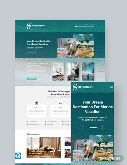 Royal Resort WordPress Theme/Template