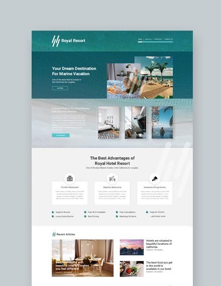 Sample Royal Resort Landing Page Wordpress Theme