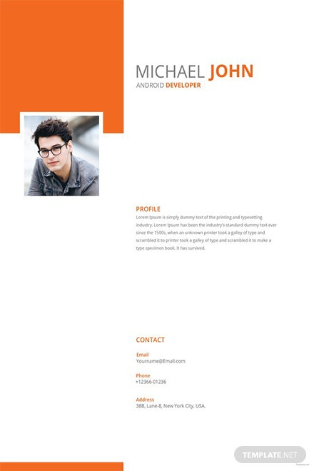 Free Android Developer Resume Template