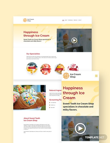 Ice Cream Landing Page WordPress Theme