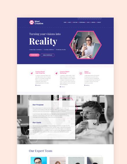 Sample Creative Agency Landing Page Wordpress Theme