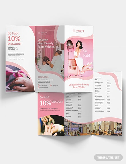 Beauty Salon Trifold Brochure Download