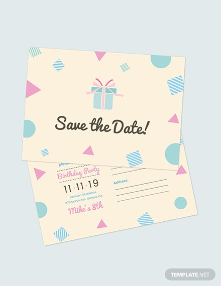 Birthday Save The Date Postcard Download