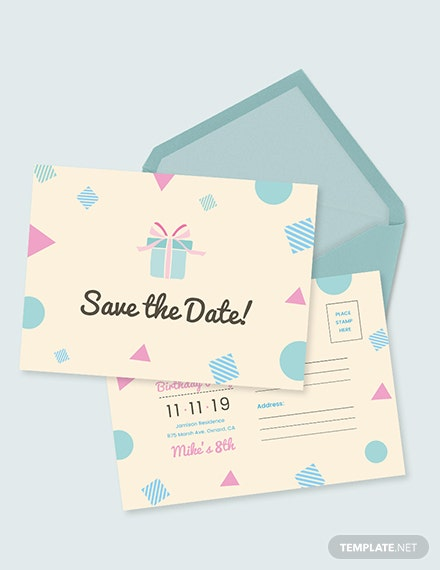 Sample Birthday Save The Date Postcard