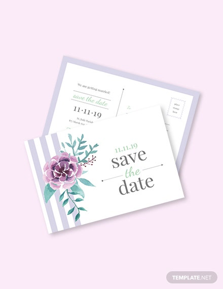 Save The Date Invitation Postcard Template