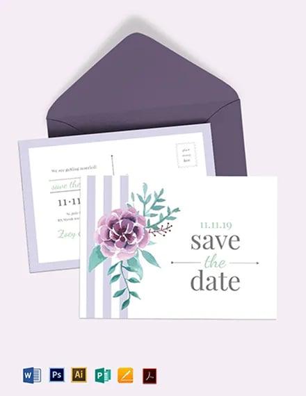 Save The Date Invitation Postcard Template