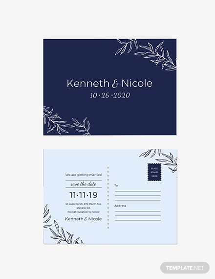 Sample Wedding Save The Date Postcard