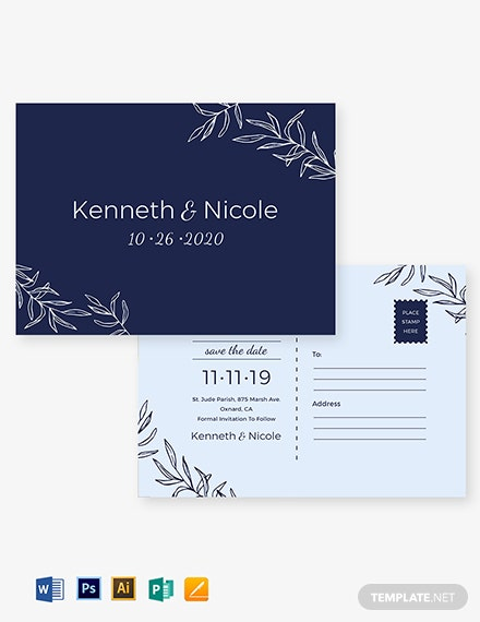 Wedding Save The Date Postcard Template
