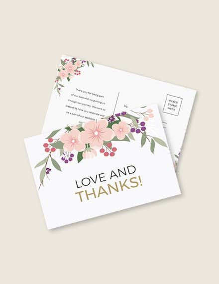 Wedding Thank You Postcard Template