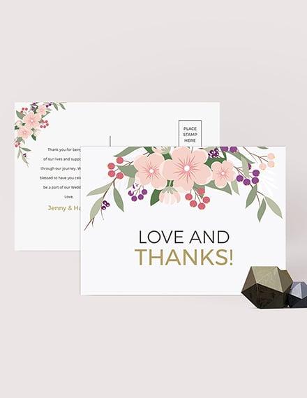 Sample Wedding Thank You Postcard