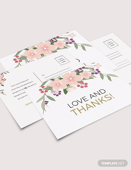 Wedding Thank You Postcard Download