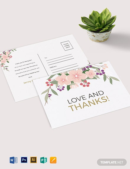 Wedding Thank You Postcard Template