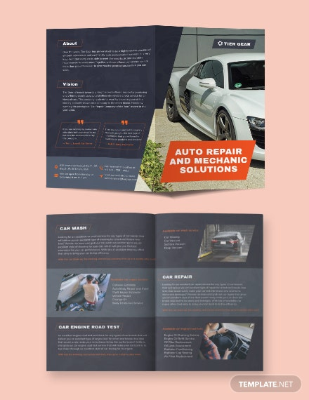 Auto Mechanic Bi-Fold Brochure Template