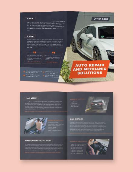 Auto Mechanic Bi-Fold Brochure Template