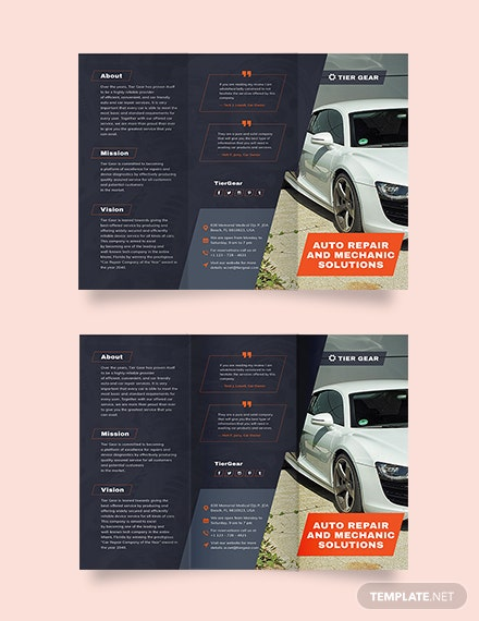 Auto Mechanic Tri-Fold Brochure Template