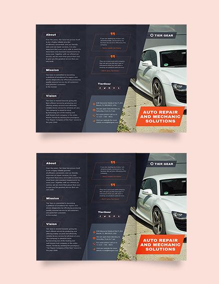 Auto Mechanic Tri-Fold Brochure Template