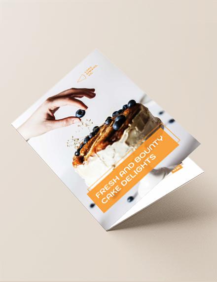 Bakery Cake Shop Bi-Fold Brochure Template