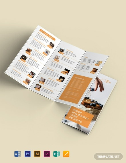 Bakery Cake Shop Tri-Fold Brochure Template