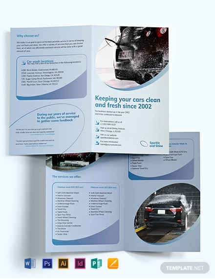 Car Wash BiFold Brochure Template
