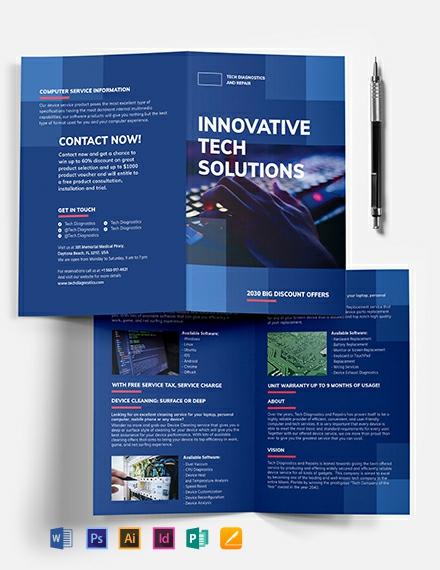 Computer Service Bi-Fold Brochure Template