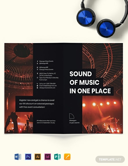Music Event Bi-Fold Brochure Template
