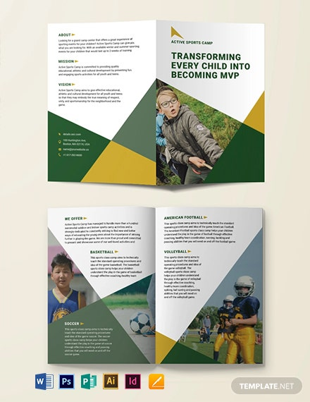 FREE Sports Camp Bi-Fold Brochure Template - Illustrator, InDesign, Word, Apple Pages, PSD