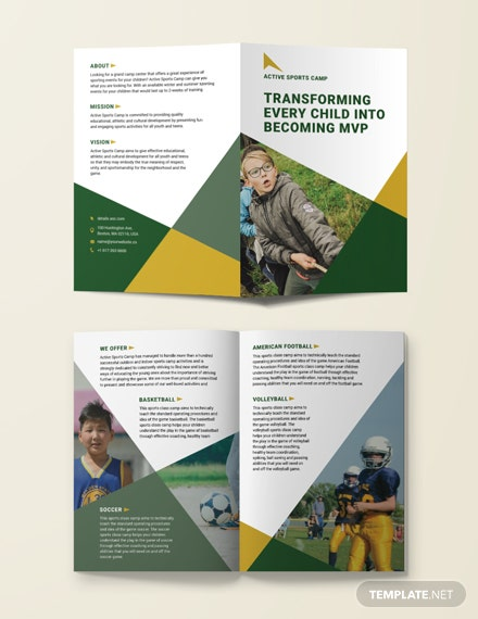 sports camp bifold brochure 1x