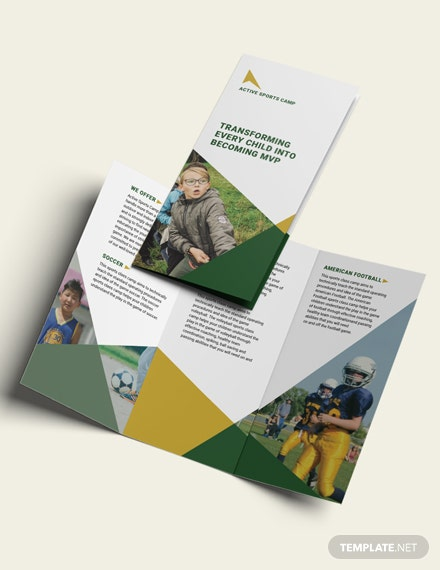 sports camp trifold brochure mockups 1x