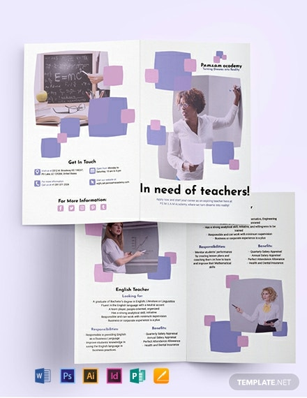 Teacher Bi-Fold Brochure Template