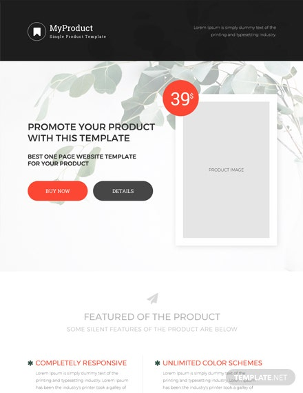 free single product ecommerce website template