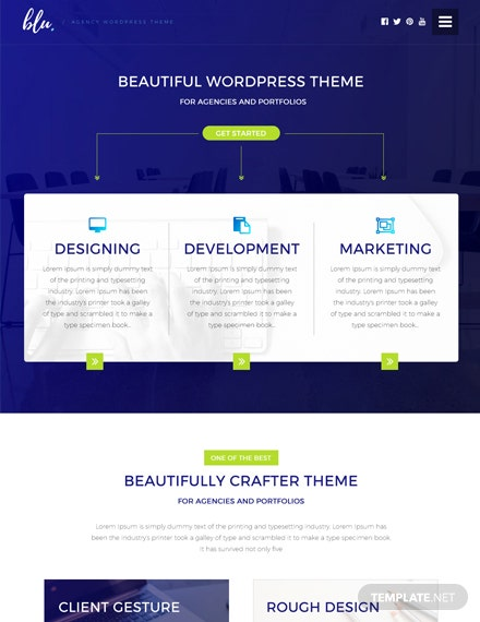 Free Blu Agency PSD Website Template